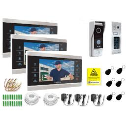 Door Knox Three Monitor Video Door Entry Kit with Two Camaras