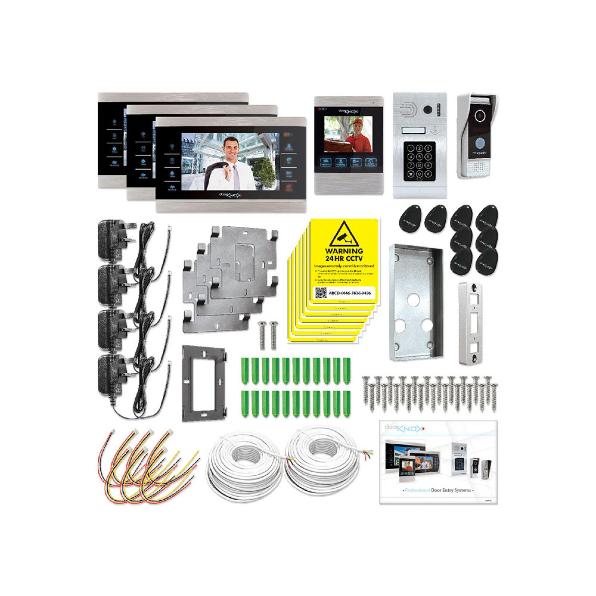 Doorknox Video Door Entry Kit 4 Monitors 2 Camaras