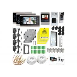 Door Knox Four Monitor Video Door Entry Kit with Two Camaras