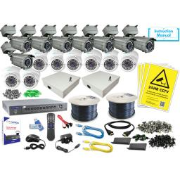 System Q 16ch MegaHero External Kit with 16 HD-TVI External Cameras (8x Eyeball, 8x Bullet)