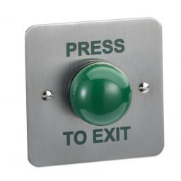 "CLS CLS004F Flush Mount Stainless Steel  Green ""PRESS TO EXIT"" Door Release Button"