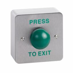 "CLS CLS004F Surface Mount Stainless Steel  Green ""PRESS TO EXIT"" Door Release Button"